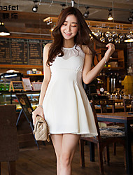 Women's White/Black Dress , Sexy/Casual Sleeveless