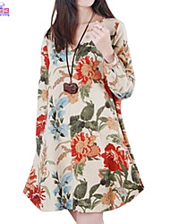 Lady Fall Women Cusual Loose V Neck Ethnic Printed Flower Dress Clothes