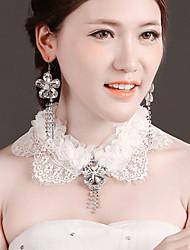 Bride Wedding White Mesh  Diamond Noble  Earring Necklaces Set
