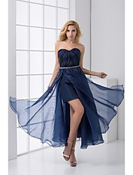 Formal Evening Dress - Dark Navy Plus Sizes / Petite Sheath/Column Sweetheart Ankle-length Chiffon