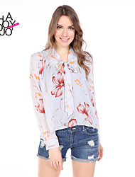 haoduoyi® Women's Simple Floral Printed Long Sleeve Stepped Hem Blouse