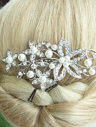 Wedding Silver-tone Pearl Rhinestone Crystal Flower Hair Comb Bridal Headpiece Wedding Hair Comb