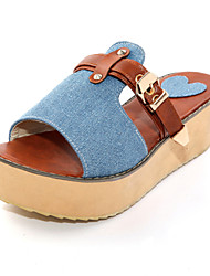 Women's Shoes Wedge Heel Wedges/Round Toe Slippers Office & Career/Dress/Casual Blue/Green