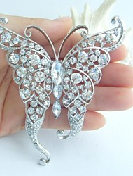 Women Accessories Silver-tone Clear Rhinestone Crystal Butterfly Brooch Art Deco Crystal Brooch