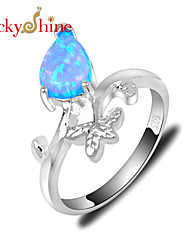 Lucky Shine Women's Men's Unisex Silver Unique Rings With Gemstone Fire Drop Blue Opal Crystal Mother Father Gift