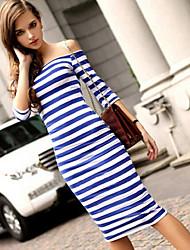 sexy manga comprimento ½ vestido na altura do joelho micro-elástica das mulheres (algodão)
