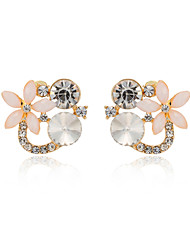 XM Women's  Fashion Fresh Flower Gold Plating Color Zirconium Stud Earrings