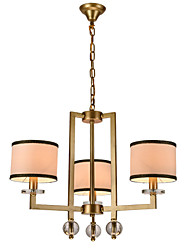 Contemporary Contracted Creative Crystal Chandeliers 3 Lights with  Height Adjustable Metal