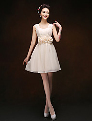 Knee-length Chiffon Bridesmaid Dress - Champagne Sheath/Column Straps