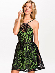 Women's Lace Organza Skater Dress