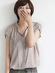 De las mujeres Camisa Escote Chino/Cuello Camisero - Mezclas de Algodón - Manga Corta