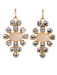 Fashion Lady's Inlay Diamond Oval Gem Drop Earrings(1Pair)