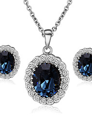 T&C Women's Elegant Cz Diamond Jewelry 18K White Gold Pated Blue Sapphire Crystal Pendants Necklaces Earrings Sets