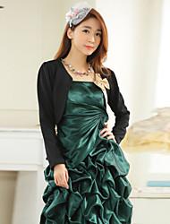 casamento envolve manga longa moda poliéster elegantes boleros bowknot branco preto shrug / bolero