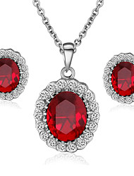 T&C Women's Ruby Jewelry 18K White Gold Plated with Rhinestones Surrounded Red Crystal Pendant Necklaces Earrings Sets