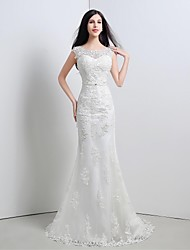 Trumpet/Mermaid Wedding Dress-Sweep/Brush Train Scoop Lace / Tulle