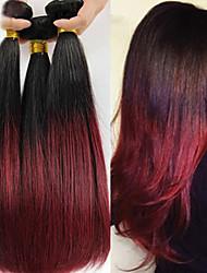 """12 """"24"""" extensiones del pelo del pelo virginal brasileño rectas humanos ombre pelo, color 1b / 99j del pelo humano teje"""