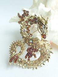Women Accessories Gold-tone Topaz Rhinestone Crystal Dragon Brooch Art Deco Crystal Brooch Pin