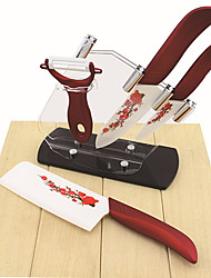 5 Pieces Flower Printed Ceramic Knife Set 6.5''/6''Chef Knife/ 4''Utility Knife / Peeler with Acryl Holder