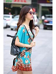 Damen Druck Einfach / Street Schick Lässig/Alltäglich T-shirt,Rundhalsausschnitt Sommer Kurzarm Mehrfarbig Seide Dünn