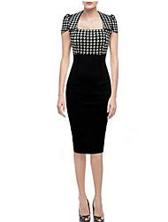 Layi   Women's Sexy Square Short Sleeve Dresses (Cotton)