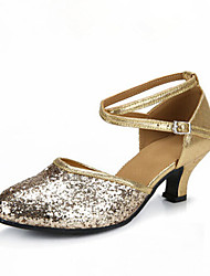 Women's Dance Shoes Sandals Paillette Cuban Heel Gold/Silver