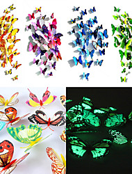 24 Pcs 3D Butterfly Magnet Stickers Wall Art Decals with Bubble Stick(12 Pcs Ordinary+12 Pcs Luminescent)