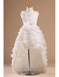 Flower Girl Dress Chapel Train Satin/Tulle Princess Sleeveless Dress