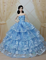 Party/Evening Dresses For Barbie Doll Blue Dresses For Girl's Doll Toy