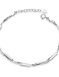 Jazlyn Authentic Platinum Plated 925 Sterling Silver Woman Men Bone Link Chain Couples Bracelet Christmas Gift