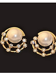 Fashion Beautiful Diamond Pearl Moon Shaped Round Gold Earrings
