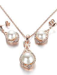 T&C Women's Noble Pearl Jewelry Sets 18K Rose Gold Plated Use Austrian Crystal Waterdrop Pendant Necklace Earrings Set