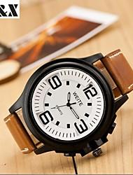 Мужской Наручные часы Кварцевый Календарь Кожа Группа Черный / Коричневый бренд-