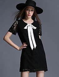 In the summer of 2015 new Large Size Womens Black Lace Bow neckline dress sexy ladies Women's CLOTHING