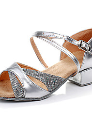 Kids' Dance Shoes Latin/Salsa/Flamenco/Samba Leatherette/Synthetic Low Heel Silver/Gold