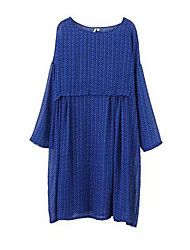 ocasional ¾ manga mini vestido micro-elástica das mulheres (chiffon)
