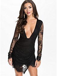 Women's Party/Cocktail Sexy Dress,Solid Above Knee Long Sleeve Black Polyester Summer