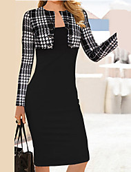 Women's Vintage/Casual/Party Round Long Sleeve Dresses (Cotton/Polyester)