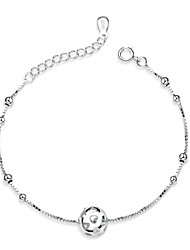 Jazlyn Authentic Platinum Plated 925 Sterling Silver Woman Heart Ball Beads Chain Bracelet