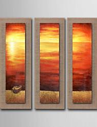 peinture à l'huile décoration marine abstrait peint à la main lin naturel avec la main tendue encadrée - ensemble de 3