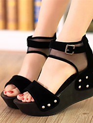 Women's Shoes Black Wedge Heel 10-12cm Sandals (PU)