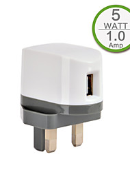 CE Certified Single USB Wall Charger, UK Plug Face, 5V 1A Output, for iPhone 5/5s/5c iPhone 6/Plus iPhone 3/3G/3Gs