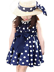 Kids Girls Polka Dot Chiffion Sundress Toddler Tunic Bowknot Belt Dresses (Chiffon)