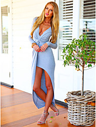 Women's Solid Blue/Black/Gray Dress , Sexy/Bodycon/Party Deep V Long Sleeve