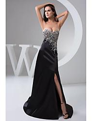 Formal Evening Dress - Black Petite A-line Sweetheart Floor-length Chiffon