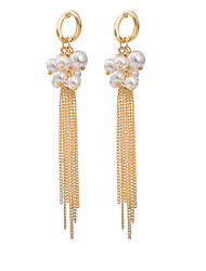 BIN BIN Women's Fashion Elegant Pearl Pendants Tassel Alloy Earrings