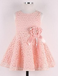 Girl's Pink / White Dress,Jacquard Lace Spring