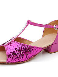 Kids' Dance Shoes Latin/Salsa/Flamenco/Samba Paillette/Synthetic Low Heel Pink/Red/Silver/Gold
