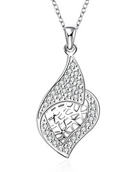 Fine Jewelry 925 Sterling Silver Jewelry Hollow Plant Pendant Necklace for Women