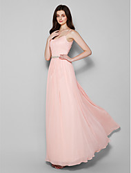 Lanting Bride Floor-length Chiffon Bridesmaid Dress Sheath / Column Spaghetti Straps Plus Size / Petite with